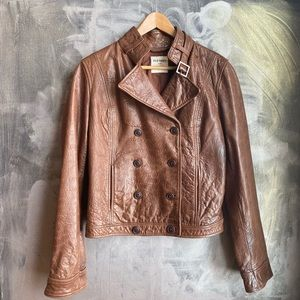 OLD NAVY - genuine Leather Brown Jacket SZ M